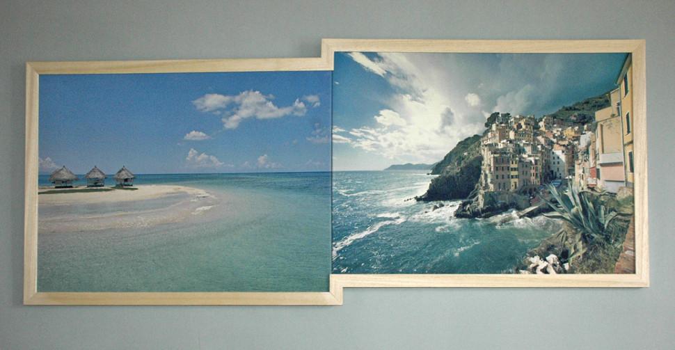 Tremblement de mer  /  Seaquake /2010 Photographies du commerce  imprimées sur toile,  châssis et  encadrement / 164 x 70 cm.