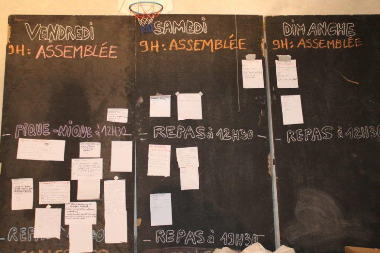 Planning collectif proposé par les participants chaque matin