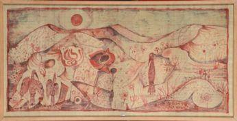 René Guiette, Paysage abstrait aux fleurs et aux oiseaux, 1953. Peinture sur soie, 67 x 134 cm.